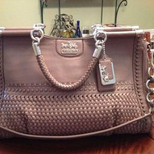 Coach Madison Woven Leather Caroline Dowel Satchel SV/MS - $1200